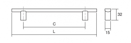 Maner pentru mobila Ara W, finisaj otel inoxidabil/nuc, L:220 mm [2]