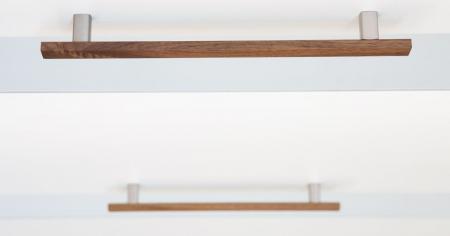 Maner pentru mobila Ara W, finisaj otel inoxidabil/nuc, L:220 mm [1]
