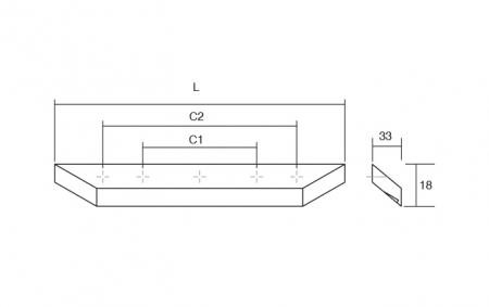 Maner pentru mobila Barcco, finisaj nuc, L:200 mm [3]