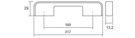 Maner pentru mobila Blok, finisaj nichel periat/negru mat, L:217 mm [2]