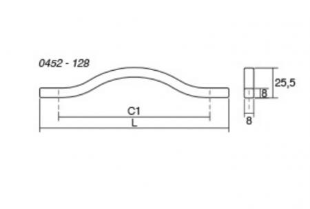 Maner pentru mobila Brave alb mat, L= 160 mm2