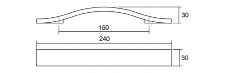 Maner pentru mobila Calin, finisaj alb periat, L:240 mm [1]