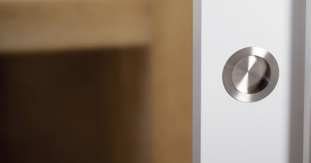 Maner pentru mobila ingropat Radi, finisaj otel inoxidabil periat, D:65 mm [1]