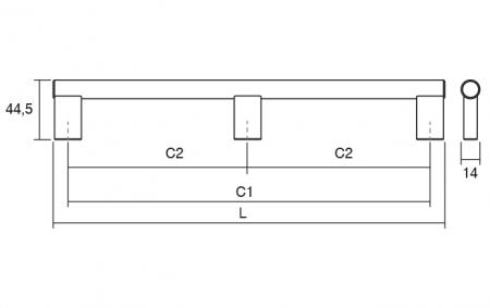 Maner pentru mobila Kombi Long, finisaj otel inoxidabil periat, L:814 mm [2]
