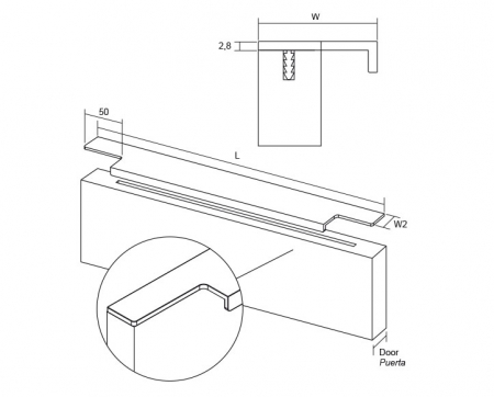 Maner pentru mobila Linear, finisaj otel inoxidabil, L:997 mm [3]