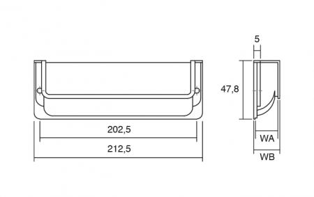 Maner pentru mobila Nest, finisaj nichel periat, L:212.5 mm [2]