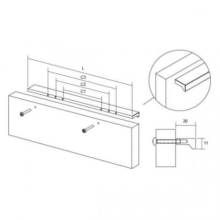 Maner pentru mobilier Angle, finisaj crom lucios, L 200 mm [3]