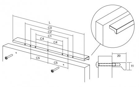 Maner pentru mobilier Angle, finisaj otel inoxidabil, L:400 mm2