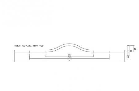 Maner pentru mobilier Brave, alb mat, L 1150 mm2
