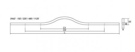 Maner pentru mobilier Brave alb mat, L= 240 mm2