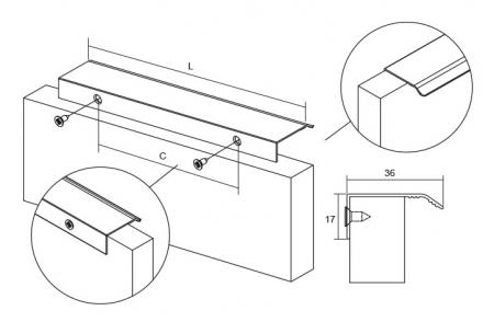 Maner pentru mobilier Cruve, finisaj aluminiu, L: 45 mm1