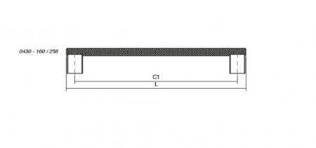 Maner pentru mobila Graf Mini, finisaj otel inoxidabil, L= 182 mm [2]
