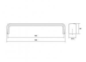Maner pentru mobilier Mito finisaj alama antichizata, L:166 mm2