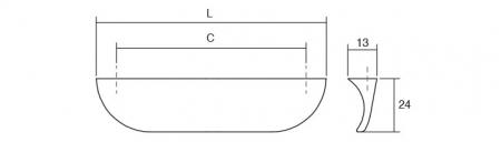 Maner pentru mobilier Nick, crom lucios, L: 178 mm [1]