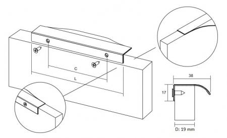 Maner pentru mobilier Noma, anodizat luminos, L: 350 mm1