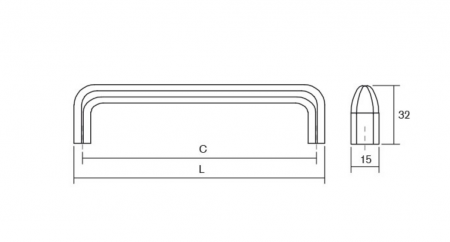 Maner pentru mobilier Redo, finisaj crom lustruit, L: 201 mm1