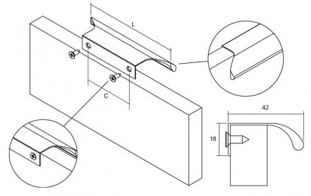 Maner pentru mobilier Ritta, negru mat, L:130 mm1