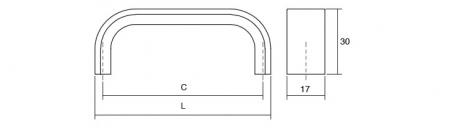 Maner pentru mobilier Sense Mini, finisaj alama intunecata periata, L: 263 mm1