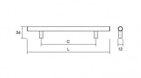 Maner pentru mobilier Tub, finisaj otel inoxidabil, L:192 mm2