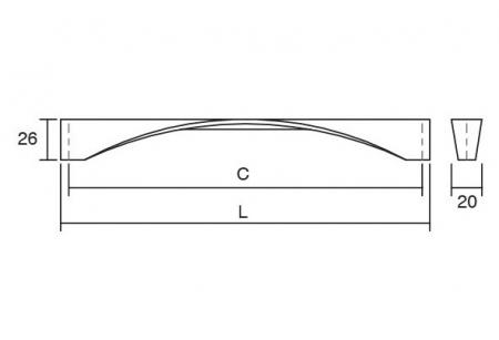 Maner pentru mobilier Twisted, finisaj nichel periat, L:170 mm1