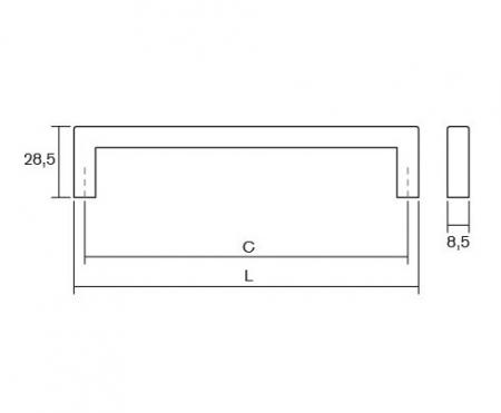 Maner pentru mobilier U, alb mat, L:500,5 mm2