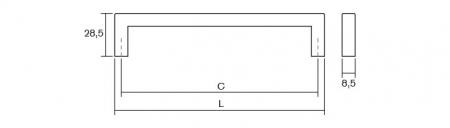 Maner pentru mobilier U, nichel periat, L: 136,5 mm2