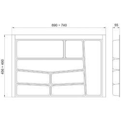 Suport organizare tacamuri, gri grafit, pentru latime corp 800 mm, montabil in sertar de bucatarie2