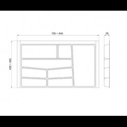 Suport organizare tacamuri, gri grafit, pentru  latime corp 900 mm, montabil in sertar de bucatarie2