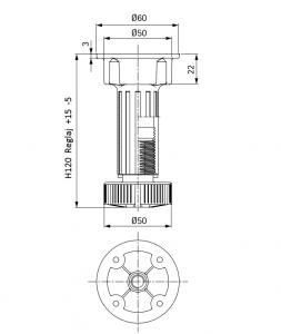 Picior cilindric negru H:120 mm pentru mobilier4