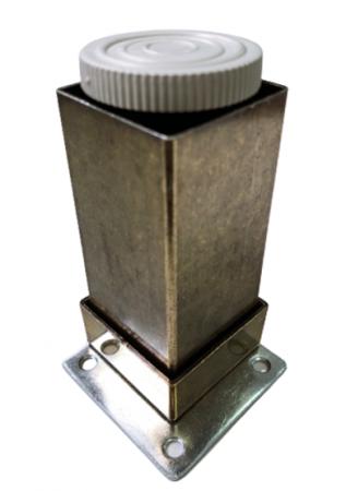 Picior metalic pentru mobilier H:100 mm, finisaj auriu antichizat, profil patrat 40x40 mm cu masca2