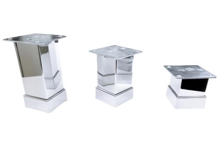 Picior metalic pentru mobilier H:100 mm, finisaj crom lucios, profil patrat 40x40 mm cu masca [1]