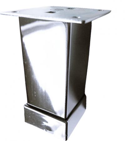 Picior metalic pentru mobilier H:100 mm, finisaj crom lucios, profil patrat 40x40 mm cu masca [0]