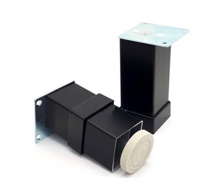 Picior metalic pentru mobilier H:80 mm, finisaj negru, profil patrat 40x40 mm cu masca [1]