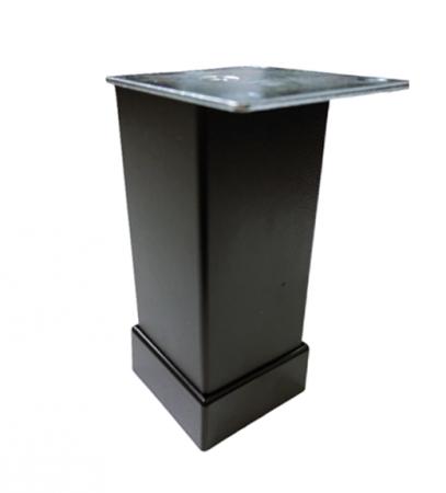 Picior metalic pentru mobilier H:80 mm, finisaj negru, profil patrat 40x40 mm cu masca [0]