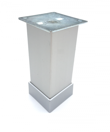 Picior metalic pentru mobilier H:100 mm, finisaj aluminiu, profil patrat 40x40 mm cu masca [0]