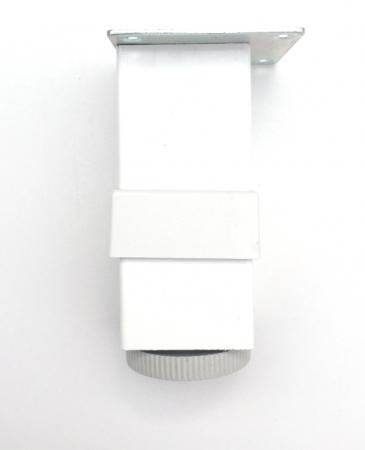 Picior metalic pentru mobilier H:100 mm, finisaj alb, profil patrat 40x40 mm cu masca [1]