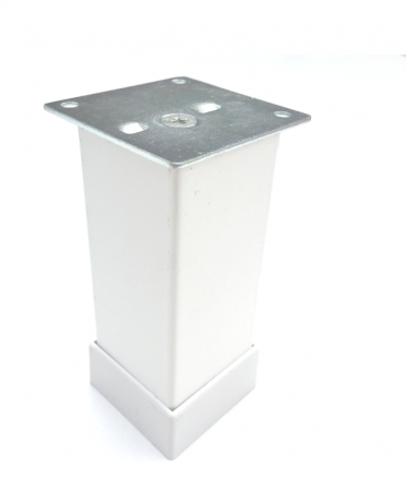 Picior metalic pentru mobilier H:100 mm, finisaj alb, profil patrat 40x40 mm cu masca [0]