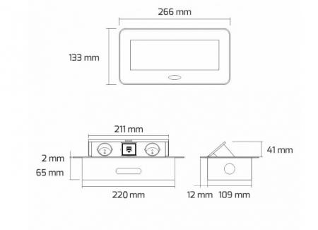 Priza incorporabila in blat dreptunghiulara Kombibox, finisaj aluminiu, 2 prize Schuko + 2 USB si incarcator incorporat, 266x133 cm4