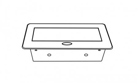 Priza incorporabila in blat dreptunghiulara Kombibox, finisaj aluminiu, 2 prize Schuko + 2 USB si incarcator incorporat, 266x133 cm3
