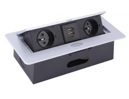 Priza incorporabila in blat dreptunghiulara Kombibox, finisaj aluminiu, 2 prize Schuko + 2 USB si incarcator incorporat, 266x133 cm1