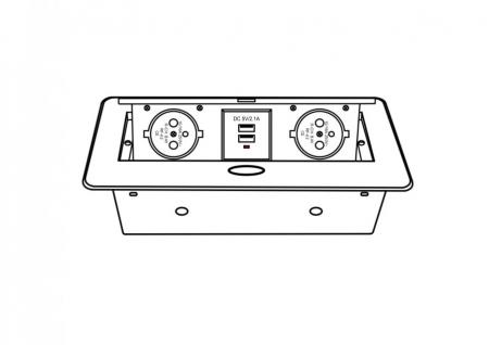Priza incorporabila in blat dreptunghiulara Kombibox, finisaj aluminiu, 2 prize Schuko + 2 USB si incarcator incorporat, 266x133 cm2