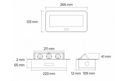 Priza incorporabila in blat dreptunghiulara Kombibox, finisaj negru, 2 prize Schuko + 2 USB si incarcator incorporat, 266x133 cm4