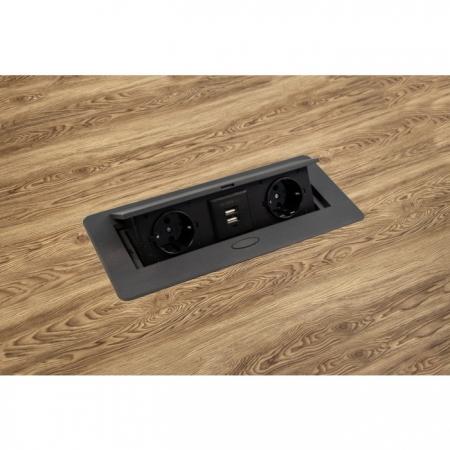 Priza incorporabila in blat dreptunghiulara Kombibox, finisaj negru, 2 prize Schuko + 2 USB si incarcator incorporat, 266x133 cm2