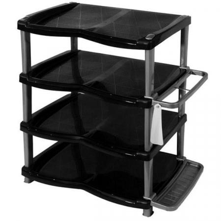 Raft/ suport pentru pantofi cu 4 etaje, negru/gri [0]