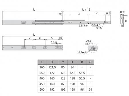 Set 2 glisiere pe bile cu amortizare si extragere totala 500 mm3