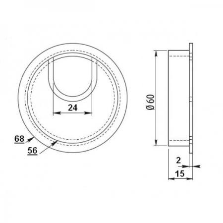 Suport doza trecere cablu metalica, cromata, cu perii ø602