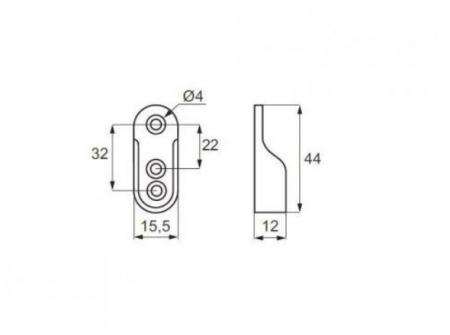 Suport lateral pentru bara umerase ovala, finisaj aluminiu1