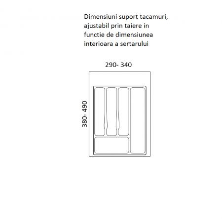 Suport organizare tacamuri, alb, pentru corp de 400 mm, montabil in sertar bucatarie1