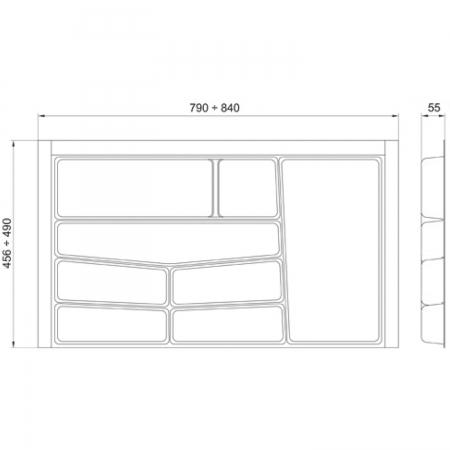 Suport organizare tacamuri, alb, pentru latime corp 900 mm, montabil in sertar bucatarie1
