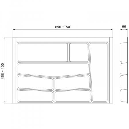 Suport organizare tacamuri, gri deschis, pentru latime corp 800 mm, montabil in sertar de bucatarie1